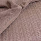 Lichtbruine sweatshirtstof met gevlochten motief, achterzijde in fleece