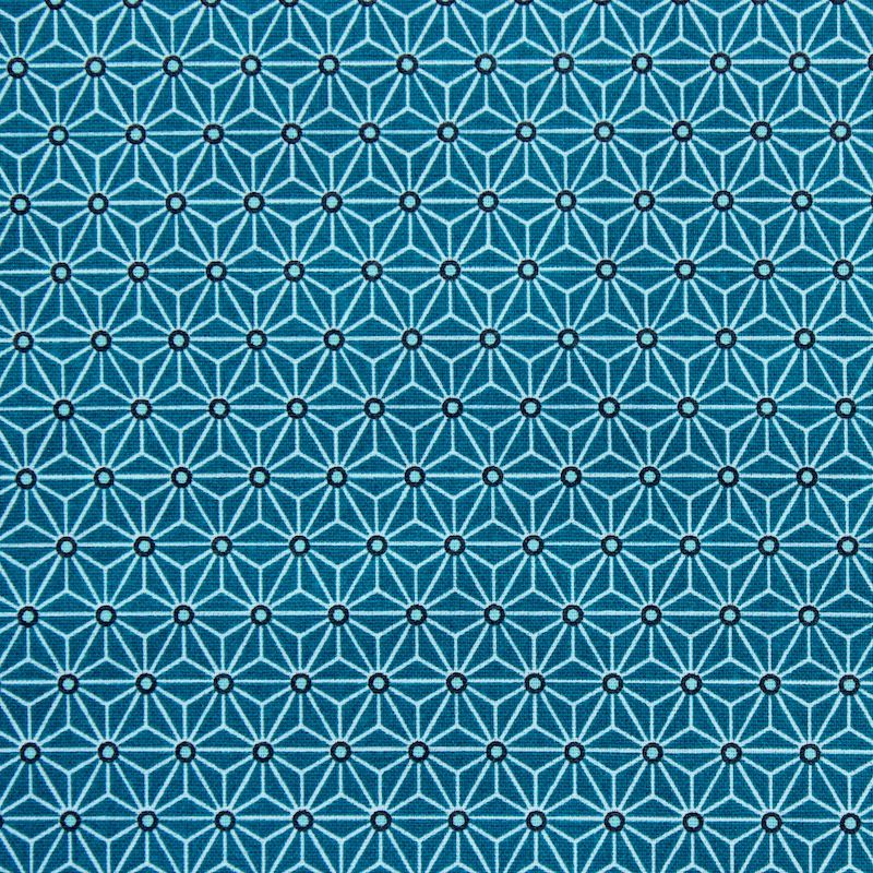 tissu en coton motifs origami blanc sur fond bleu canard. Black Bedroom Furniture Sets. Home Design Ideas