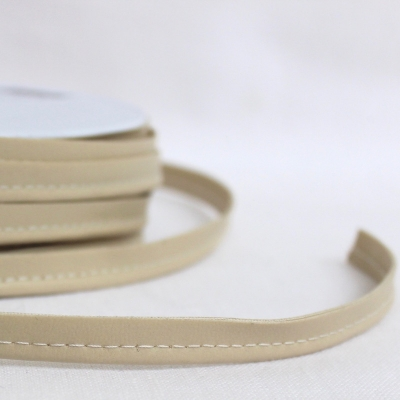 Beige piping cord imitation leather