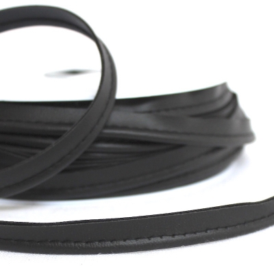 Black piping cord imitation leather