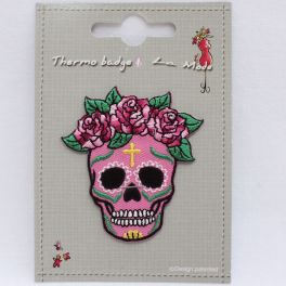 Iron-on patch pink Mexican skull