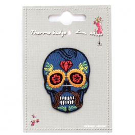 Iron-on patch blue Mexican skull