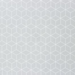 Furniture fabric with pearl grey and white geometric print
