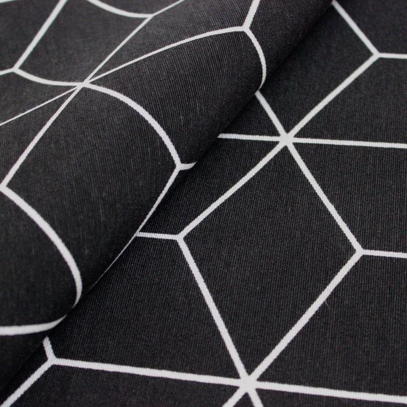 tissu d 39 ameublement motif g om trique noir. Black Bedroom Furniture Sets. Home Design Ideas