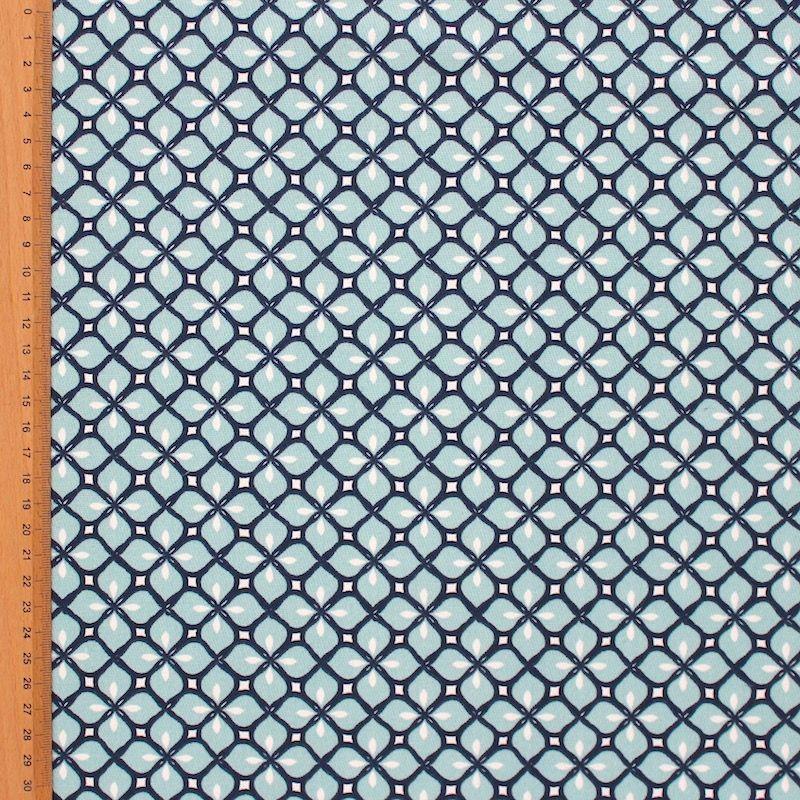 Tissu d'ameublement à motif mosaique bleu