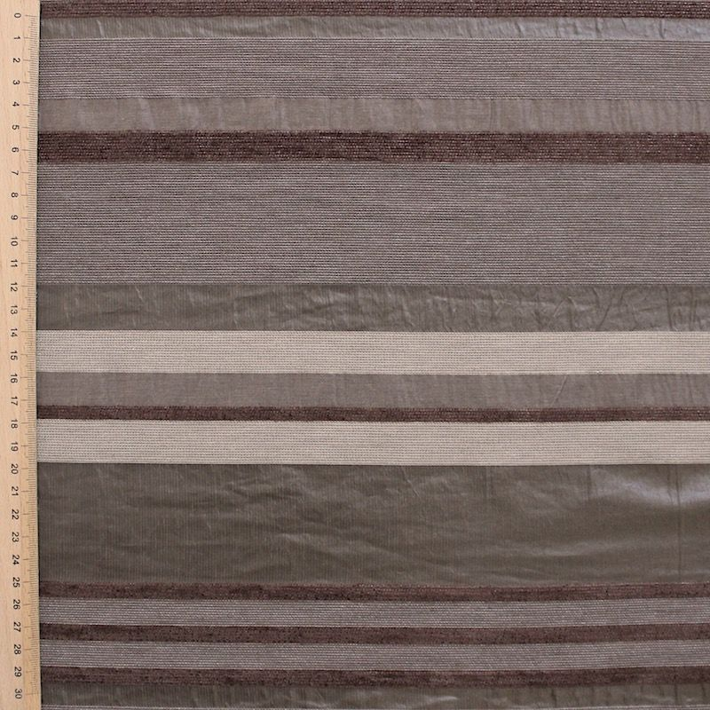Striped clothing fabric in shades of brown
