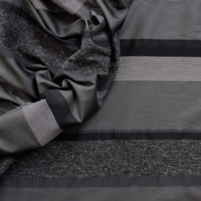 Striped clothing fabric in shades of grey
