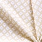 Cotton Cretonne with white tiles on beige background