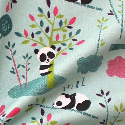 Tissu en cretonne petit panda turquoise