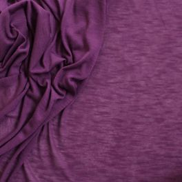 Fine jersey fabric creased and flamed purple