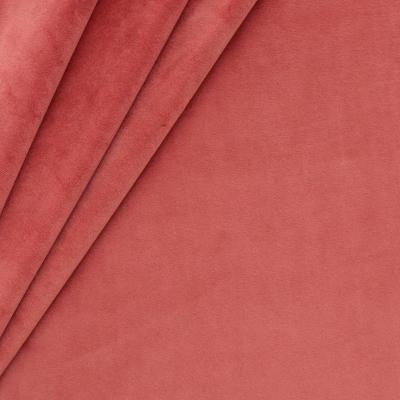 Tissu d'ameublement en velours lisse rouge corail
