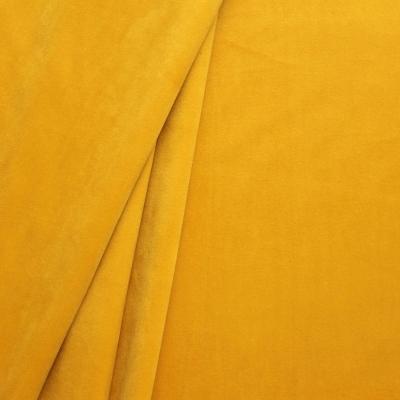 Tissu d'ameublement en velours lisse jaune bouton d'or
