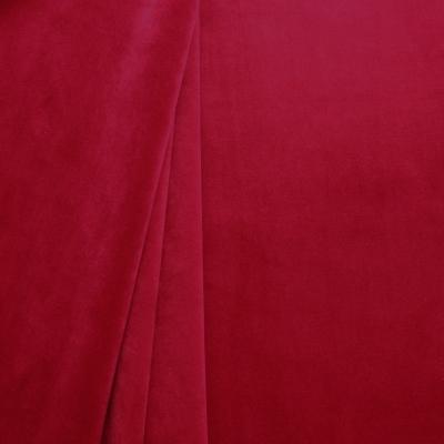 Tissu d'ameublement en velours lisse rouge rubis