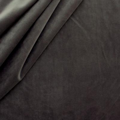 Tissu d'ameublement en velours lisse gris foncé