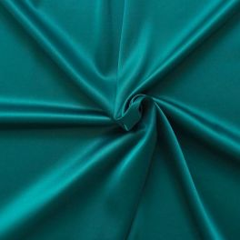 Satin extensible uni vert emeraude