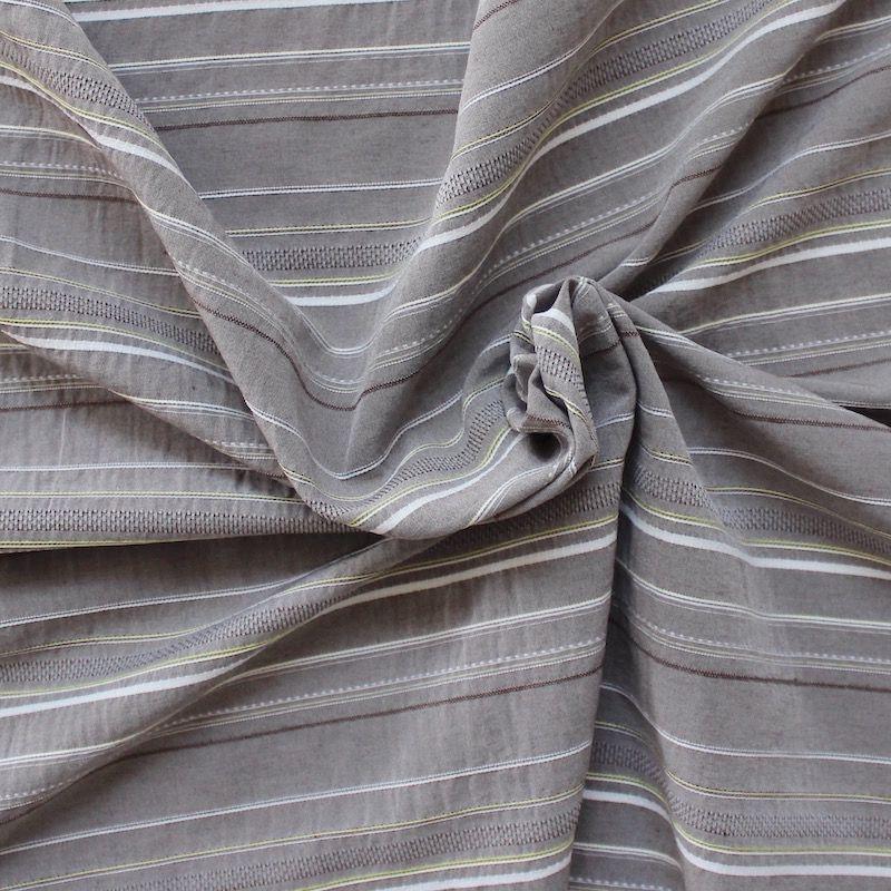 tissu rayures brod es multi motifs gris. Black Bedroom Furniture Sets. Home Design Ideas