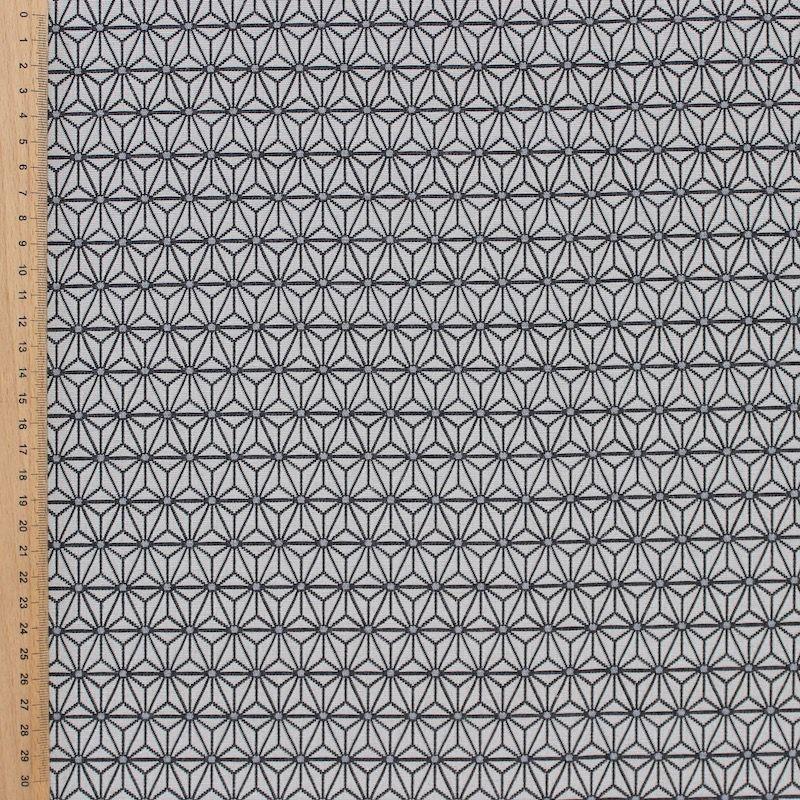 Tissu jacquard à petit motif origami gris fond grège