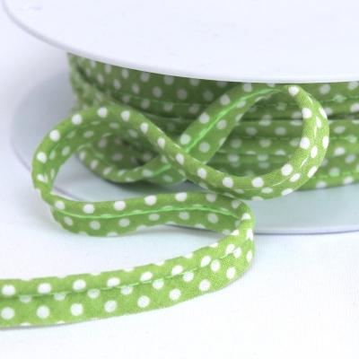 Passepoil vert à pois blanc