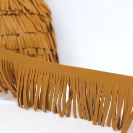 Braid simili leather with fringes dark yellow