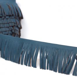 Braid simili leather with fringes blue
