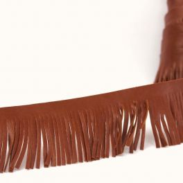 Braid simili leather with fringes cognac