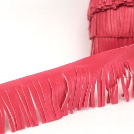 Braid simili leather with fringes pink