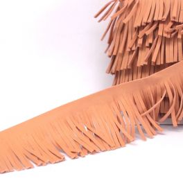 Braid simili leather with fringes old pink