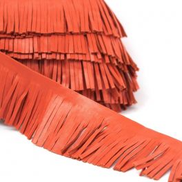 Braid simili leather with fringes rust coloured