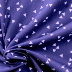 Light coton printed with white triangles on a cobalt blue background