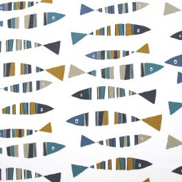 Furniture fabric with sardines on a white background