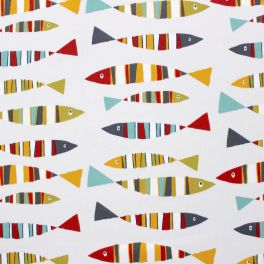 Furniture fabric with sardines on a greige background