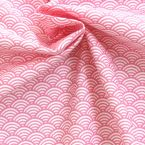 Cotton fabric with white and pink Japonese wave-design Seigaha
