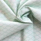 Cotton fabric with white and mintgreen Japonese wave-design Seigaha
