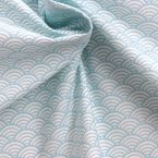 Cotton fabric with white and light blue Japonese wave-design Seigaha