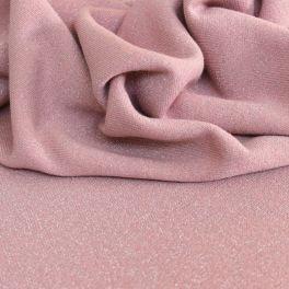 Tissu sweat molletonné pailleté vieux rose
