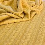 Jersy gewatteerd mosterdgeel met gevlochten motief achterzijde in ultra-zachte minkee-stof