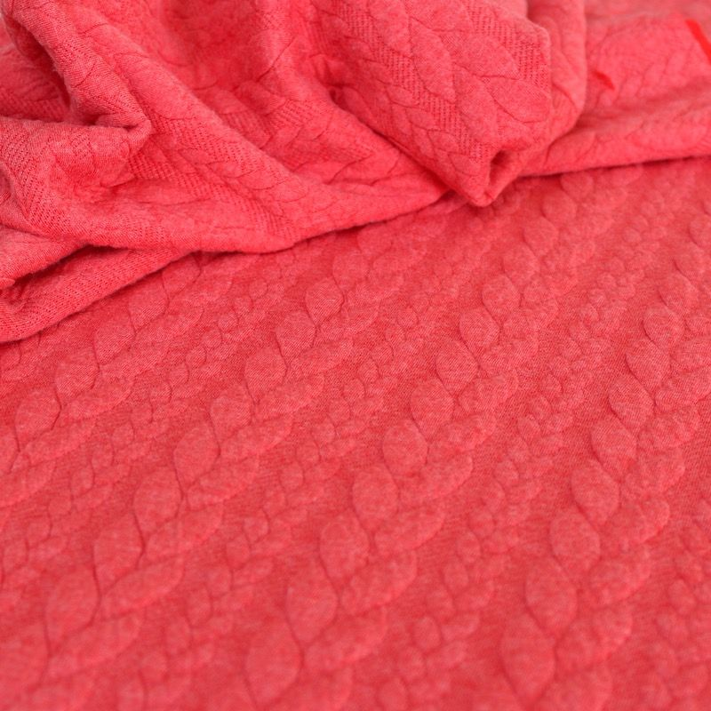 half off a049b 62da1 Quilted jersey fabric with coral red twist and fluffy fleece back