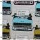 Beige polyester en katoen stof met groene en blauwe schrijfmachines