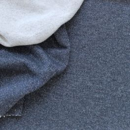 Tissu sweat molletonné pailleté bleu