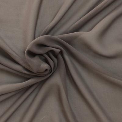 Voile crêpe de soie gris taupe