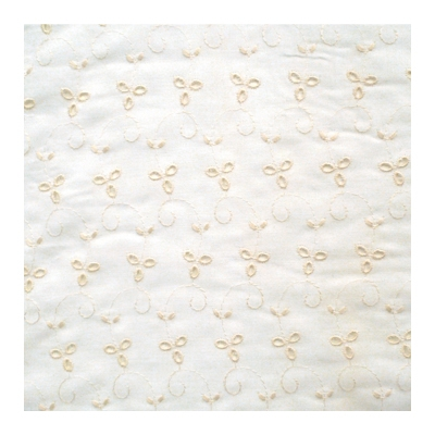 English embroidery in cream with white background