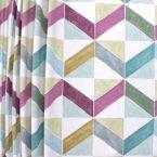 Tissu d'ameublement à motif géométrique multicolore