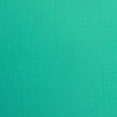 Cotton and ramie fabric plain green turquoise