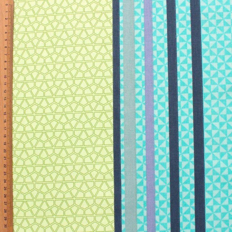Tissu d'ameublement rayé multi motifs turquoise et vert