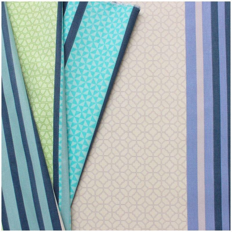 tissu d 39 ameublement ray multi motifs turquoise et vert au. Black Bedroom Furniture Sets. Home Design Ideas