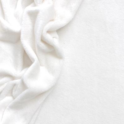 Velours Minkee aspect lisse uni blanc pur