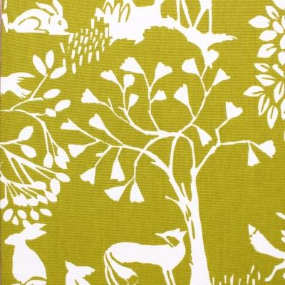 Tissu d'ameublement imprimé animaux des bois vert chartreuse