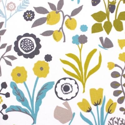 Tissu d'ameublement imprimé floral vert chartreuse et turquoise