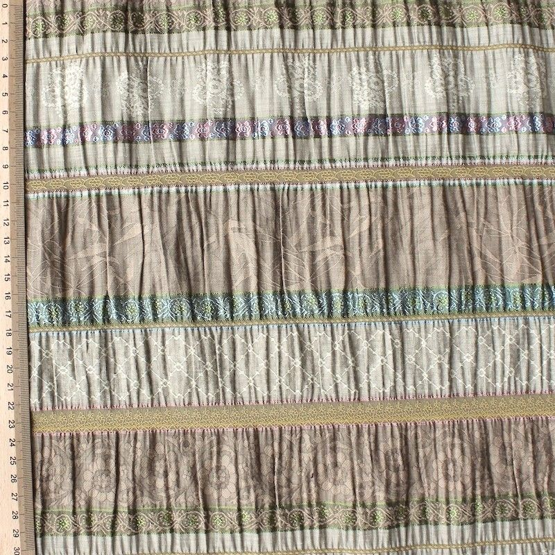 Beige cotton, viscose and polyamide fabric with lines and flowers