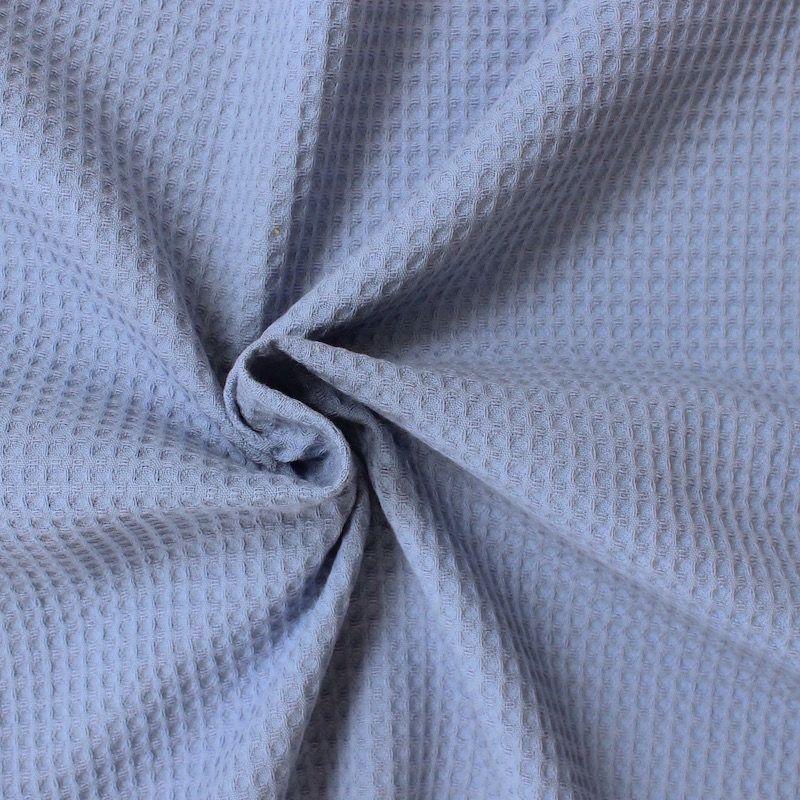 Piqué de coton gaufré nid d'abeille bleu bleuet